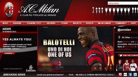 La home page del sito del Milan con il benvenuto a Balotelli. Ansa
