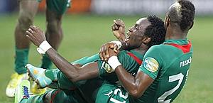 L'esultanza di Pitroipa dopo il gol partita. Reuters