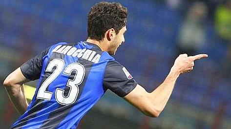 Andrea Ranocchia dopo il gol del 2-1 al Chievo. LaPresse