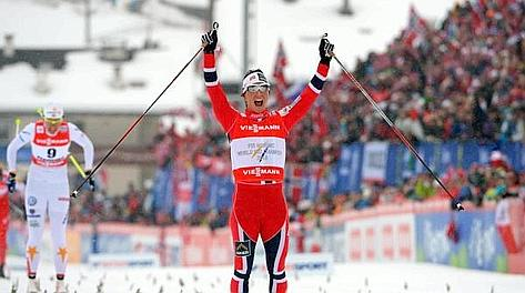 Marit Bjoergen, 32 anni, plurimedagliata mondiale e olimpica. Ansa