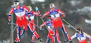 La norvegese Marit Bjoergen precede tre connazionali. Ansa