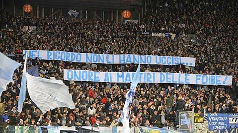 Così in curva la sera di Lazio-Borussia. LaPresse