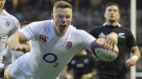 Una meta inglese nel test match del primo dicembre contro la Nuova Zelanda. Corbis