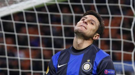 La delusione di Javier Zanetti. LaPresse
