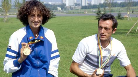 Sara Simeoni e Pietro Mennea dopo l'Olimpiade del 1980. Olycom