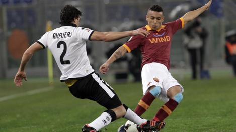 Marquinhos in azione nella gara con il Parma. Ap