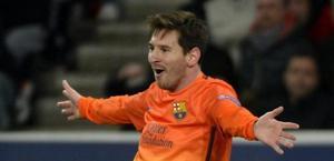 Messi esulta dopo l'1-0. Epa