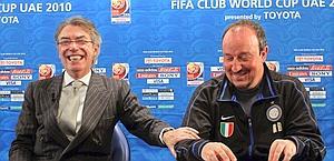 Massimo Moratti e il tecnico Rafa Benitez. Epa