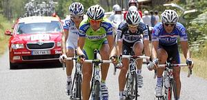Daniel Oss in fuga al Tour 2010. Bettini
