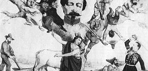 Garibaldi (a sini.), NapoleoneII e il generale Cialdini