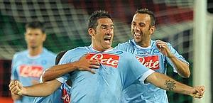 Cristiano Lucarelli con la maglia del Napoli. LaPresse