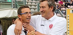 Eusebio Di Francesco, a sinistra: è il tecnico del Lecce. Lapresse