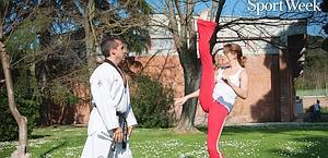 Claudia Gerini in versione taekwondo. Riccardo Ghilardi