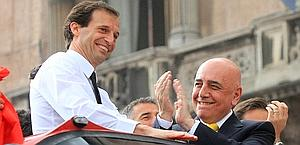 Massimiliano Allegri con Adriano Galliani. Ansa