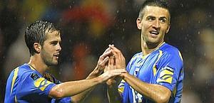 Pjanic celebra il suo gol contro Lussemburgo. Reuters