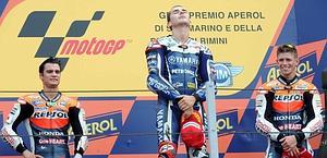 Lorenzo sul podio di Misano: terza vittoria stagionale. Ansa