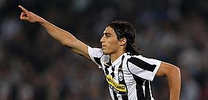 Caceres celebrates after his goal against Lazio, his only Serie A strike. LaPresse