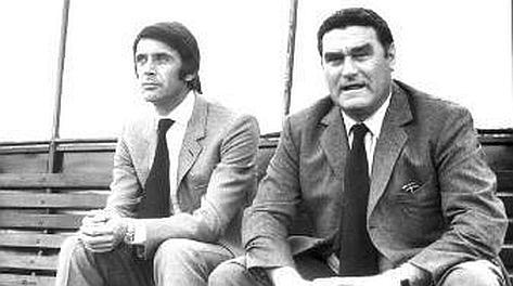 Cesare Maldini muove i primi passi da allenatore con Nereo Rocco. Archivio