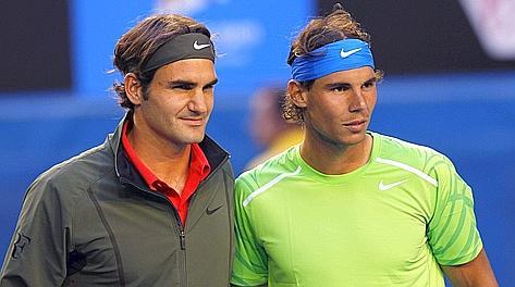 Federer e Nadal insieme lo scorso gennaio agli Open d'Australia.