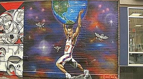 Il murales dedicato a Jeremy Lin su un edificio dell'East Village a Manhattan.