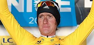 Bradley Wiggins, maglia gialla. Ansa