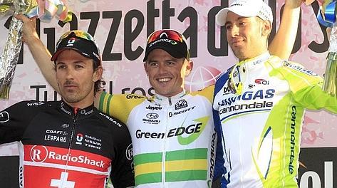Da sinistra Cancellara, Gerrans e Nibali: il podio della Sanremo. Bettini