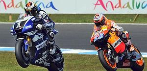 Ecco il tema della stagione 2012: Lorenzo e Stoner in fuga. Afp