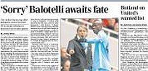 Le scuse di Balotelli. Archivio Gazzetta