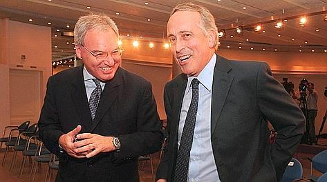 Il presidente di Lega Maurizio Beretta col presidente federale Giancarlo Abete.