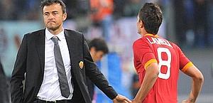 Luis Enrique e Lamela contro il Catania. Ansa