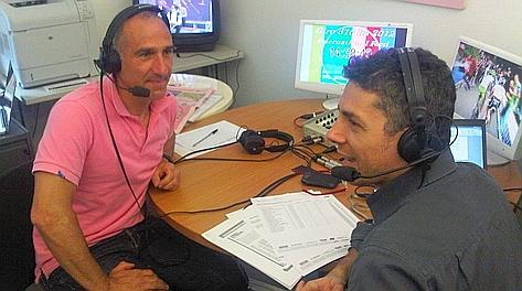 Marco Saligari e Andrea Berton nello studio televisivo di Gazzetta.it