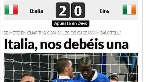 Il titolo pubblicato da Marca: Italia, ce ne devi una