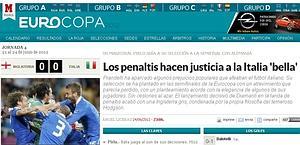 Il sito di Marca celebra la vittoria dell'Italia. marca.com
