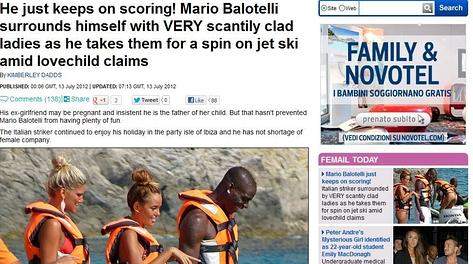 Il Daily Mail con le nuove foto di Mario Balotelli a Ibiza