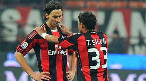 Ibrahimovic e Thiago Silva in un'immagine del 2011. Ansa