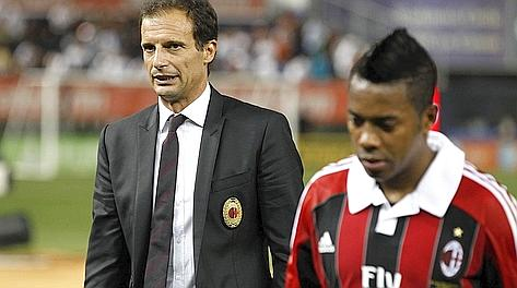Massimiliano Allegri e Robinho a fine partita. Afp