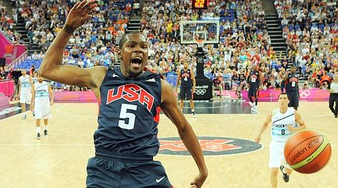 Kevin Durant, imprendibile contro l'Argentina. Afp