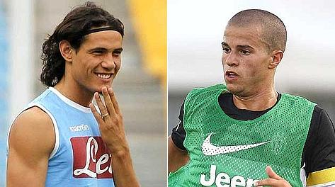 Edinson Cavani, 25 anni, e Sebastian Giovinco, 25. Ansa/LaPresse