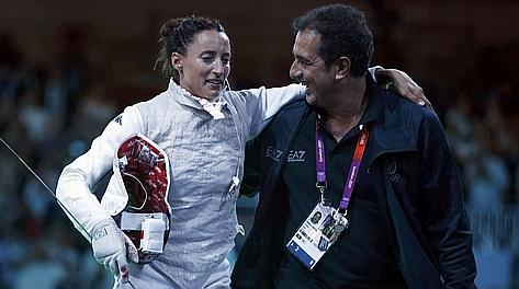 Stefano Cerioni, 48 anni, con Elisa Di Francisca, oro nel fioretto. Reuters
