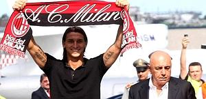 Happy times: 29 August 2010: Ibrahimovic, who had just arrived at Milan, and Galliani. LaPresse