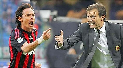 Filippo Inzaghi e Massimiliano Allegri. Ansa/Ap