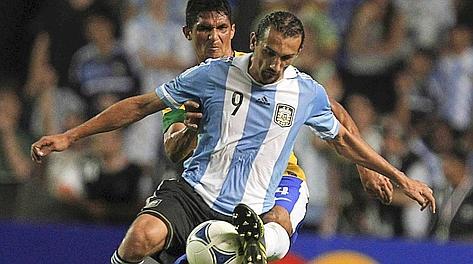 Hernan Barcos, 28 anni, 27 gol in 54 partite al Palmeiras, qui in Nazionale. Reuters