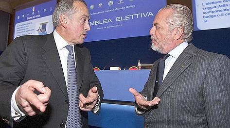 Giancarlo Abete con Aurelio De Laurentiis. LaPresse. Ansa
