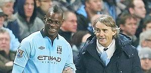 Roberto Mancini e Mario Balotelli. Action Images