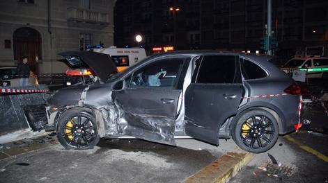 La Porsche di Caceres dopo l'incidente