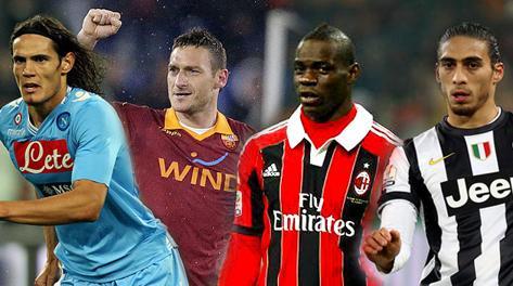 Da sinistra: Cavani, Totti, Balotelli, caceres. Ansa/LaPresse