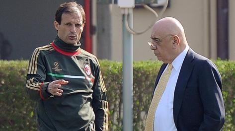 Adriano Galliani e Massimiliano Allegri; un sodalizio che dura da tre anni. Ansa