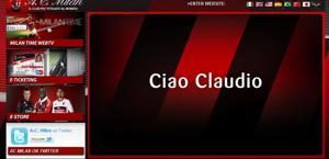 L'home  page del sito rossonero.