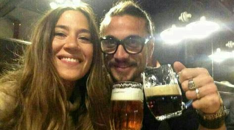 L'attaccante della Roma Osvaldo con la fidanzata. Twitter