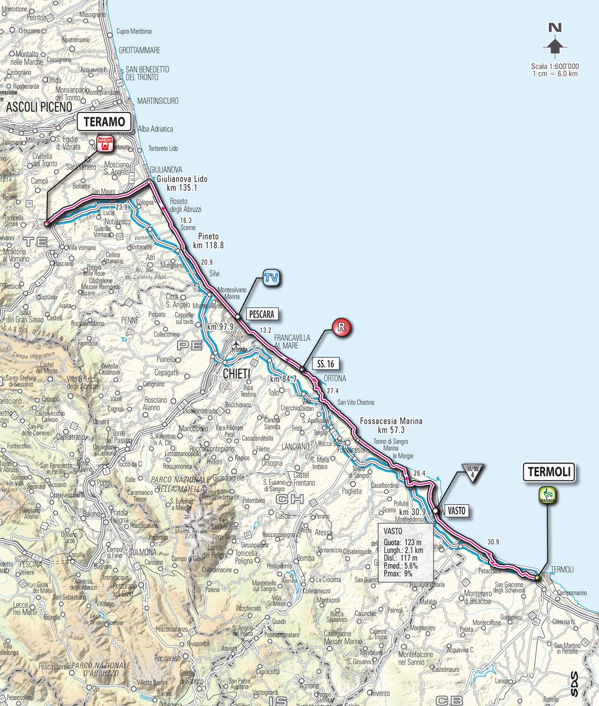 Cartina Italia Termoli.Le Tappe Del Giro D Italia Planimetria E Altimetria